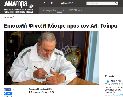 Meldung der Nachrichtenagentur ANA-MPA über den Brief Fidels